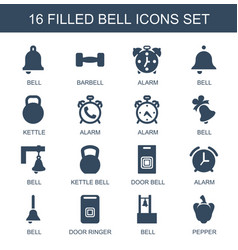 16 bell icons vector