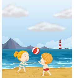 A girl and boy playing volleyball at the beach vector
