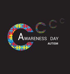 Abstract shaped puzzle awareness day autism black vector