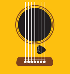 Acoustic guitar and pick sound hole poster vector