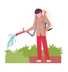 Asian male farmer watering green plant vector