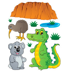 australian wildlife fauna set 3 vector image