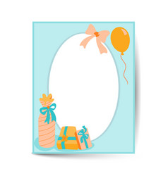 Birthday card design in a4 size circle frame vector