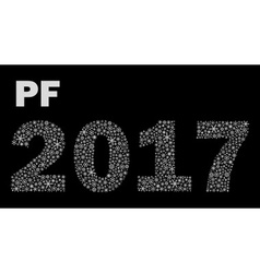 Black and white happy new year pf 2017 from little vector