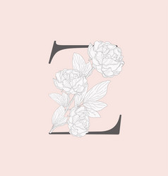 Blooming floral initial z monogram and logo vector