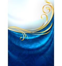 Blue fabric curtain vector