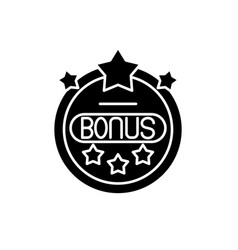bonus chip black icon sign on isolated vector image