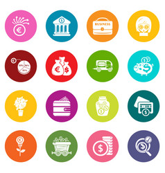 business icons set colorful circles vector image