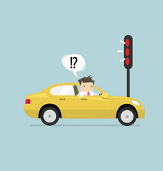 businessman confusing with red traffic light vector image