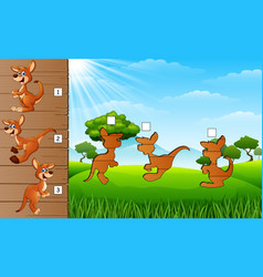 cartoon kangaroos collection set find the correct vector image