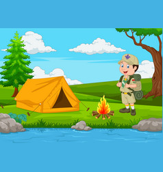 Cartoon scout with tent and fire vector