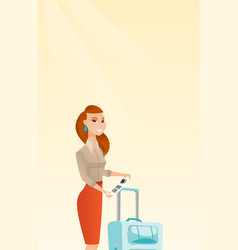 Caucasian business woman showing luggage tag vector