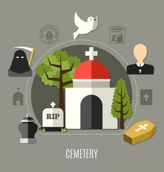 Cemetery concept set vector