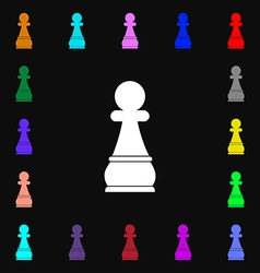 Chess Pawn icon sign Lots of colorful symbols for vector image