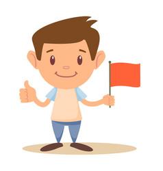 Child holding flag vector