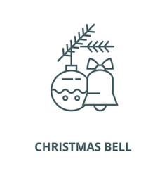 christmas bell decoration ball line icon vector image