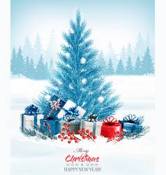 christmas holiday background with a blue tree and vector image