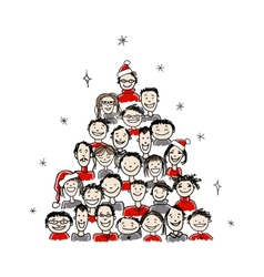 Christmas tree made from group of people for your vector image
