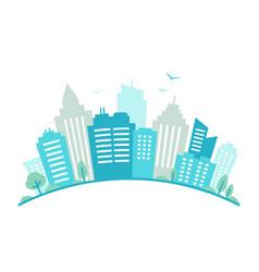 City fisheye lens styled panorama urban landscape vector