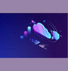 cloud data computing isometric concept cloud vector image