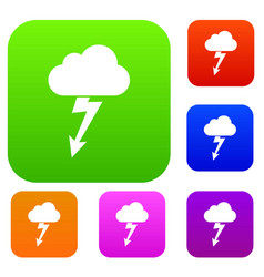 Cloud with lightning set collection vector