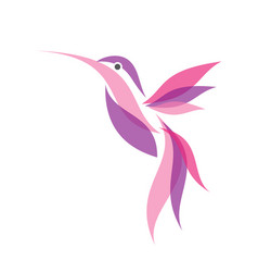colorful fliying hummingbird icon symbol in flat vector image