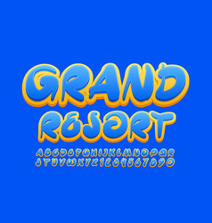 creative sign grand resort with blue font vector image