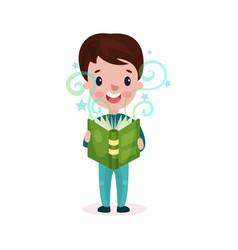 cute little boy reading fairytale book kids vector image