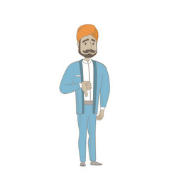 Disappointed hindu businessman with thumb down vector