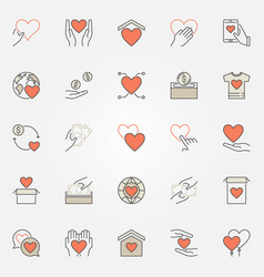 Donation and charity colored icons set vector