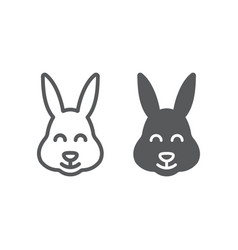 easter bunny line and glyph icon animal and vector image