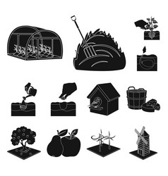 Farm and agriculture black icons in set collection vector