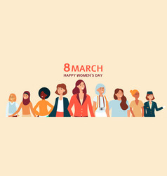 female banner poster or card with text 8 march vector image
