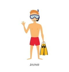 Figure diver in cartoon style on white background vector image