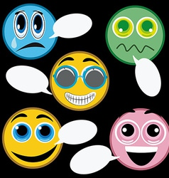 Five colores icons facial expressions in a black vector