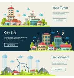 Flat design urban landscape compositions vector
