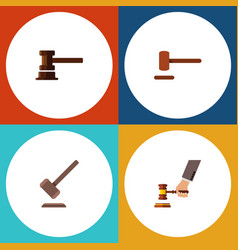 flat icon lawyer set of tribunal government vector image
