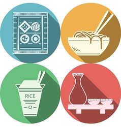 Flat icons for japanese food vector