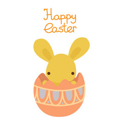 flat pastel rabbit in the easter egg vector image