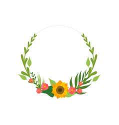 floral wreath with flowers and leaves design vector image