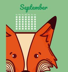 Fox and calendar cartoon concept vector