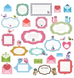 Frames envelopes and stickers for scrapbooking vector