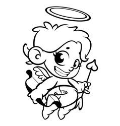 Funny cupid with bow and arrow cartoon vector