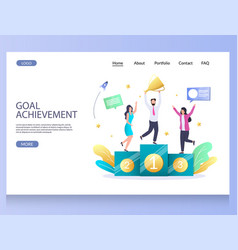 Goal achievement website landing page vector