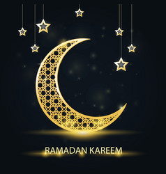 golden crescent with arabic pattern - ramadan vector image