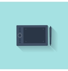 Graphic tablet in a flat style Digital drawing vector image
