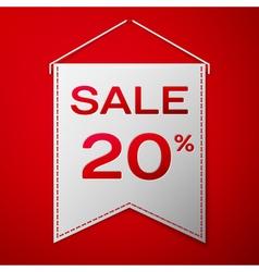 Grey pennant with inscription sale twenty percent vector