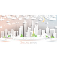 guangzhou china city skyline in paper cut style vector image