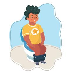 Hand drawn boy sitting on toilet vector