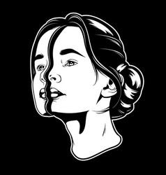 Hand drawn of young beautiful woman surreal vector